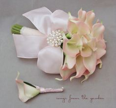 Pink Real Touch Calla Lily Bridal Bouquet by SongsFromTheGarden, $105.00