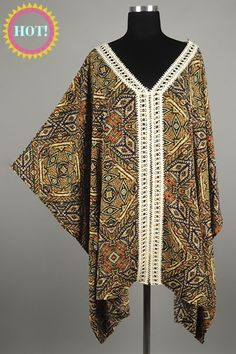 *** New Style *** Lightweight Oversize Kimono Blouse with Crochet Trim Neckline and Center in Busy Geo Tribal Print.