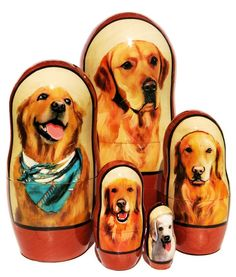 American favorite Golden Retriever dog breed portraits are hand painted on a set of real Russian 5 piece nesting dolls. Dogs Golden Retriever, Retriever Dog, Russian Babushka, Dog Portraits, Scooby Doo, Dog Breeds, Hand Painted, Dolls, Cats