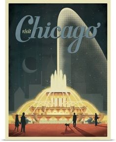 Anderson Design Group Poster Print Wall Art Print entitled Buckingham Fountain, Chicago, Illinois - Retro Travel Poster, None