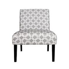 @Overstock - Portfolio Niles Gray Geometric Links Armless Chair. The Portfolio Niles armless chair features a gently tapered back and deep seat cushion for extraordinary comfort. The Niles chair is a small scale chair offering generous seating comfort and is covered in a silver gray and white geometric links fabric.http://www.overstock.com/Home-Garden/Portfolio-Niles-Gray-Geometric-Links-Armless-Chair/6807981/product.html?CID=214117 $149.99