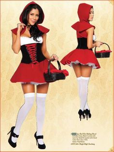 Sexy Little Red Riding Hood Fairy Tale Womens Adult Halloween Costume Outfit | eBay