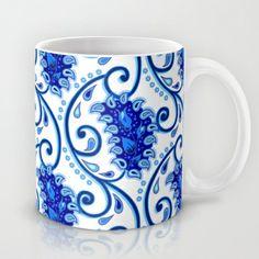 Paisley Porcelain blue and white Mug by Figen Topbaş  - $15.00