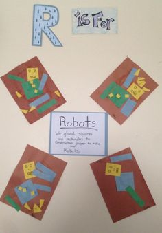 Children glued squares and rectangles to create their own robot.