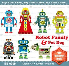 Buy 2 Get 2 Free Robot Family and Pet Dog by babapuffbaby
