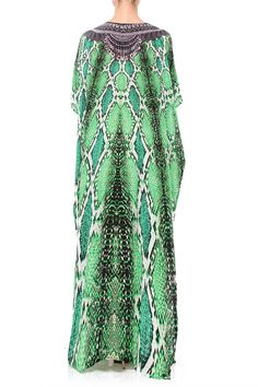 b5a70f14d56 3 Way Emerald Green Dress Snake Print  Kaftan Dress