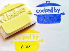 cooking hand carved rubber stamp  handmade rubber by talktothesun
