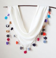Ivory Pashmina Cotton Colorful Felt Floral Triangle by MaxiJoy, $19.00