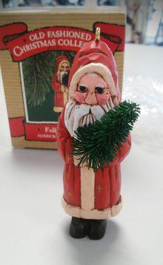 Folk Art Santa - vintage 1987 Hallmark Keepsake, Old Fashioned Christmas…
