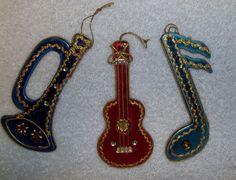 Vintage Christmas Ornaments Music Note Guitar Bugle DELTA Japan labels