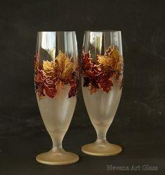Beer Glasses, Beer Wedding Glasses, Autumn Wedding, Maple Glasses, Harvest Wedding, Hand painted, set of 2: