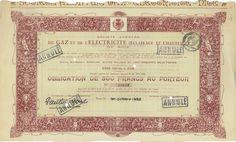 Soc. An. du Gaz et de l'Electricite de Nice - #scripomarket #scriposigns #scripofilia #scripophily #finanza #finance #collezionismo #collectibles #arte #art #scripoart #scripoarte #borsa #stock #azioni #bonds #obbligazioni
