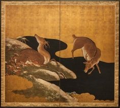 Japanese Screen: Deer in Autumn Landscape
