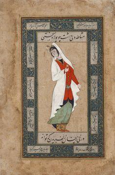 Femme regardant au-dessus de son épaule 1600 Safavid