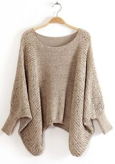 Light Grey Hollow-out Bat Sleeve Cotton Blend Pullover