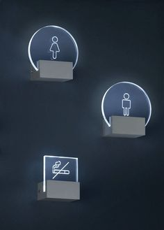 Ref: Signs wall lamp Versions: USA UK J DIfusser: Methacrylate Frame: Aluminium Finishes: Aluminium Bulb: LED 3 x Wc Icon, Wayfinding Signs, Directional Signage, Deco Led, Sign System, Environmental Graphic Design, Environmental Graphics, Displays, Signage Design