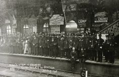 Heavy Grimsby Borough Police presence at the railway station for the King's visit to Grimsby, 1912 Police Crime, Police Uniforms, Camping Coffee, Law And Order, British History, Britain, King, Vehicles, Car