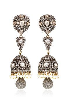 One Of A Kind Diamond & Pearl Chandelier Earrings by Amrapali for Preorder on Moda Operandi Metal Jewelry, Diamond Jewelry, Fine Jewelry, Diamond Earrings, Pearl Chandelier, Chandelier Earrings, Fashion Earrings, Fashion Jewelry, Indian Jewelry Sets