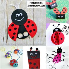 Loveable ladybug crafts that kids will love: Make ladybugs from prints, paper, leaves & more! These ladybug ideas are great for preschool & kindergarten! Animal Crafts For Kids, Spring Crafts For Kids, Crafts For Kids To Make, Kids Crafts, Ladybug Crafts, Owl Crafts, Butterfly Crafts, How To Make A Paper Bag, Insect Crafts