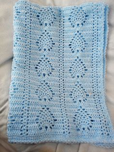 Precious Pineapple Crochet Baby Afghan Blanket, Crib size in Blue/White Heather Perfect to welcome your little one home and stay with him/her as