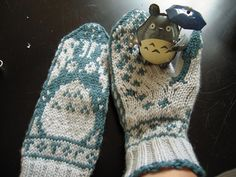 Totoro fair isle mittens