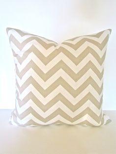CHEVRON PILLOW  covers 16x16 Tan Decorative Throw Pillows 16 x 16 Taupe Throw Pillow Covers