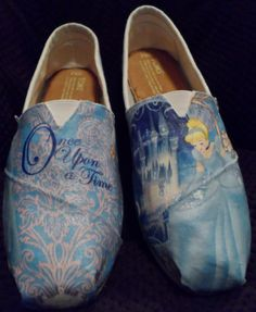 omg I think I just died because I realized I don't have these!  Glitter Cinderella Princess Toms reserved for Brooke. $115.00, via Etsy.