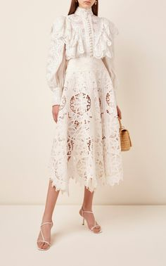 Glassy Embroidered Linen-Silk Blouse by Zimmermann Dress Outfits, Casual Dresses, Fashion Dresses, Blouse Dress, Lace Dress, Lace Skirt And Blouse, Jw Moda, Frack, Beautiful Dresses