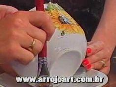 Veja como aplicar a técnica de decoupage com papel de seda em um prato!! - YouTube