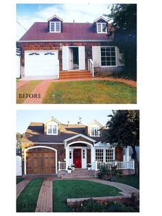Excellent Example from Better Homes and Gardens of Curb Appeal from the Stylish Garage Door with Arch Mirrored above the Portico, Splashy Red Front Door & Addition of French Doors Opening to the New Brick Porch wow the transformation! Better Homes And Gardens, Home Exterior Makeover, Exterior Remodel, Brick Porch, Brick Walkway, Before After Home, Porch Addition, Architecture Design, Futuristic Architecture