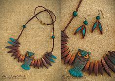 Lovely Owl Necklace by VaniLlama Art