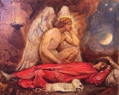 For Sale on - The Guardian Angel, Oil Paint by Sir William Blake Richmond. Offered by Darnley Fine Art. William Blake Paintings, William Blake Art, Angel Williams, Angel Drawing, Angel Aesthetic, Galleries In London, Aesthetic Painting, Pre Raphaelite, Victorian Art