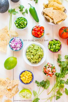 Do-It-Yourself Guacamole Bar: make your own guacamole bar and have fun taste-testing the options! | via Averie Cooks