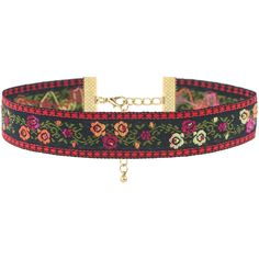Rock N Rose Rosanna Floral Embroidered Choker ($20) ❤ liked on Polyvore featuring jewelry, necklaces, floral jewelry, choker necklace, choker jewelry, floral necklace and rock 'n rose