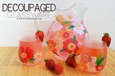 Decoupage on glass pitcher and glasses set. with @Martha Stewart #crafts decoupage - click thru for the full #diy how-to