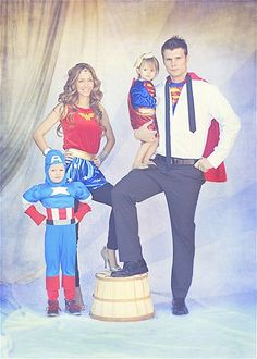 Superhero family photo opp! Totally going to do this! My boys would LOVE it!