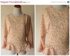 On Sale Vintage 1980s Floral Blouse  by MothersGardenVintage