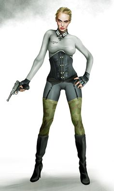 The oh-so-original and unnecessarily-tight-clothed aryan uberwoman. The walkyries fill the role of both trustful bodyguard and mercyless assassin and saboteur. This particular lady earned the swords for her Knights Cross when she alone infiltrated and sank battleship HMS 'Black Prince' off the coast of Gibraltar.