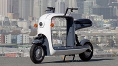 """Lit Motors electric cargo scooter. I don't like how """"product designery"""" it is and the limited cargo space"""