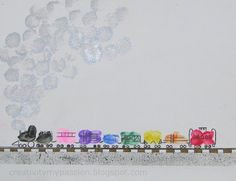 Thumbprint/Fingerprint and another art project to go with the book - Freight Train or any Train unit or activity Preschool Crafts, Fun Crafts, Toddler Crafts, Baby Crafts, Preschool Ideas, Train Crafts, Fingerprint Art, Footprint Crafts, Train Art