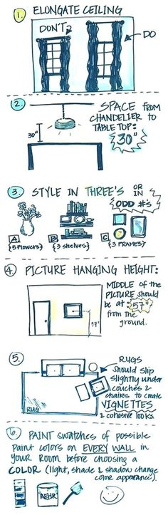Interior Design Tricks and Rules. How to make your ceilings look taller. Dista ..