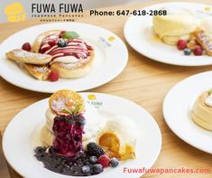 First Soufflé Pancake Shop from Tokyo to open in Toronto. Handcrafted Pancakes originated from Japan. Fuwa Fuwa means fluffy fluffy in Japanese and that is the feeling you'll get when having our pancakes. Pancake Shop, Fuwa Fuwa, Souffle Pancakes, Japanese Pancake, Fluffy Pancakes, New Menu, Menu Items, New Wave, Twists