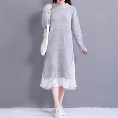 Best Selling $28.59, Buy 2017 Autumn Winter Women Midi Dress Round Neck Knitted Chiffon Patchwork Sweater Dress Casual Elegant Long Sleeve Split Dresses