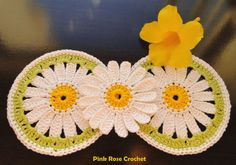 PINK ROSE CROCHET: Centrinho Margarida Daisy Coaster