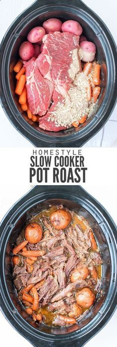 My family loves this easy slow cooker pot roast recipe. Just dump the ingredients in the pot, hit a button and a healthy dinner ready is ready when you are. :: DontWastetheCrumb...