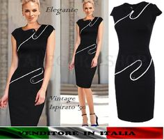 Abito anni 50 elegante vintage vestito cerimonia retrò tubino pinup NERO profila