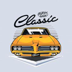 Front view of vintage muscle car Premium. Carros Vintage, Car Animation, Car Symbols, Motos Vintage, T Shirts Canada, Car Vector, Chevy, Car Illustration, Car Logos