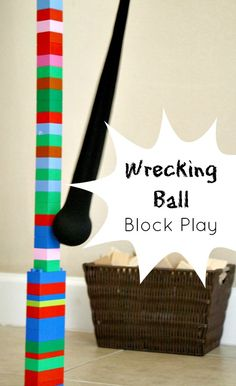 Super Easy DIY Wrecking Ball Block Play...learn about force, motion, and gravity while playing