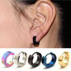 Punk Mens Women Stainless Steel Hoop Huggies Ear Stud Earrings Gothic 2pcs