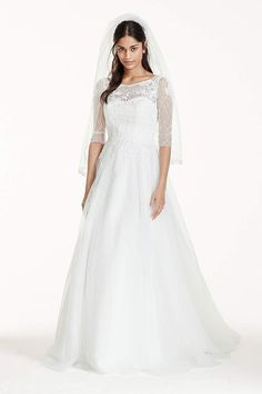 Do you dream of wearing a long sleeve wedding dress on your big day? Shop David's Bridal wide variety of wedding gowns with sleeves in lace & other designs!